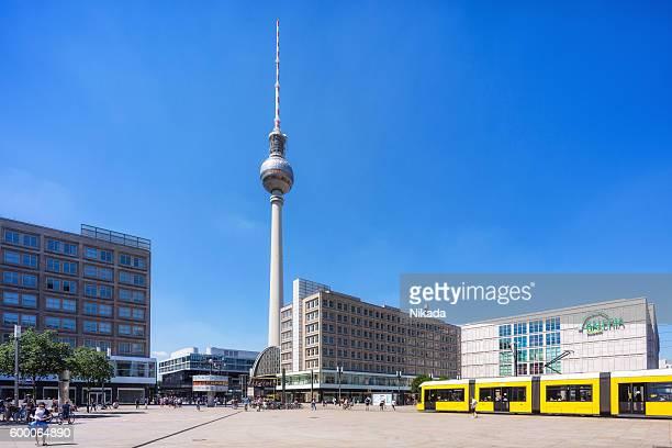 Berlin Alexanderplatz with yellow tram in Mitte, Berlin, Germany