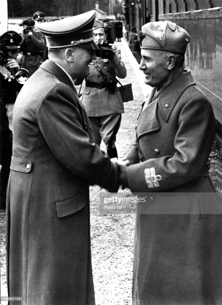 1943 Berlin At the station Hitler says goddbye to Mussolini April 10 Germany Second World War
