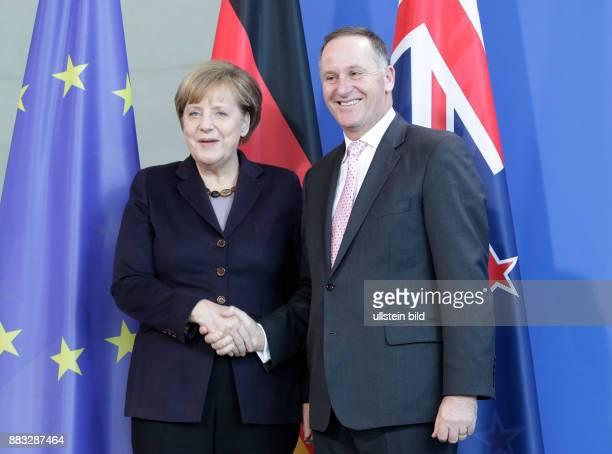 Berlin Besuch des neuseeländischen Premierministers Key Gemeinsame Presseerklärung von Bundeskanzlerin Angela Merkel und dem neuseeländischen...