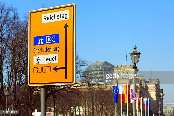 Berlin - big traffic sign near parliament buidling