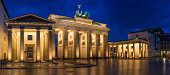 Berlin Brandenburg Gate landmark panorama illuminated at dusk Germany