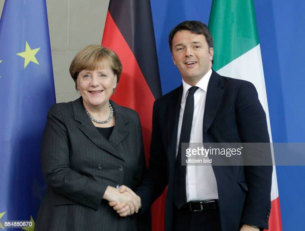 Berlin Bundeskanzleramt Empfang des italienischen Ministerpräsidenten Matteo Renzi durch Bundeskanzlerin Angela Merkel Foto Bundeskanzlerin Angela...