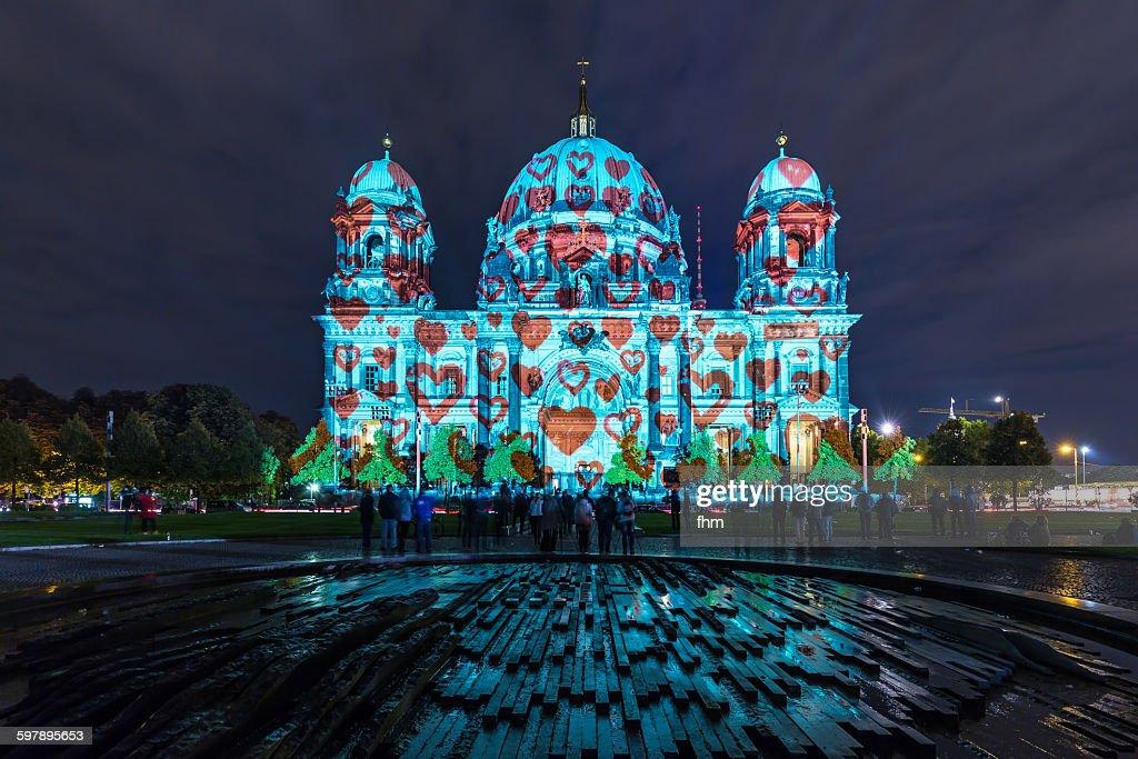 Berlin cathedral in heart-illumination