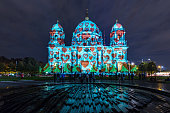 Berlin cathedral in heart-illumination