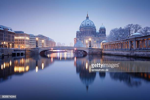 Berlin Cathedral with Reflection at winter