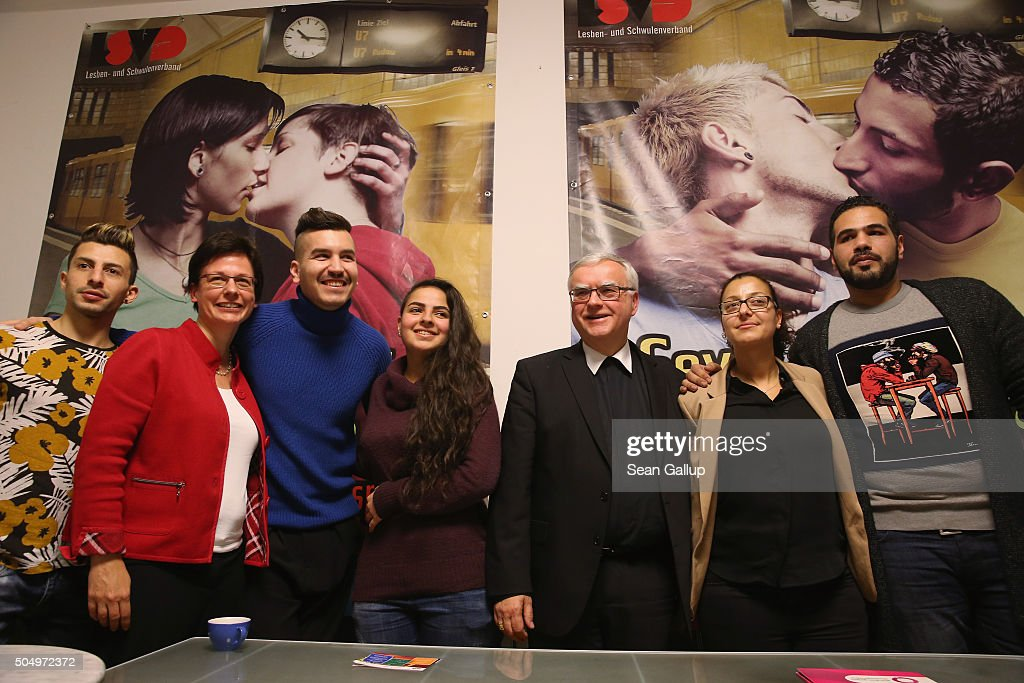 Berlin Catholic Archbishop Heiner Koch Ulrike Kostka Diocese Director for the Caritas charity and Jouanna Hassoun of MILES the refugee coordination...