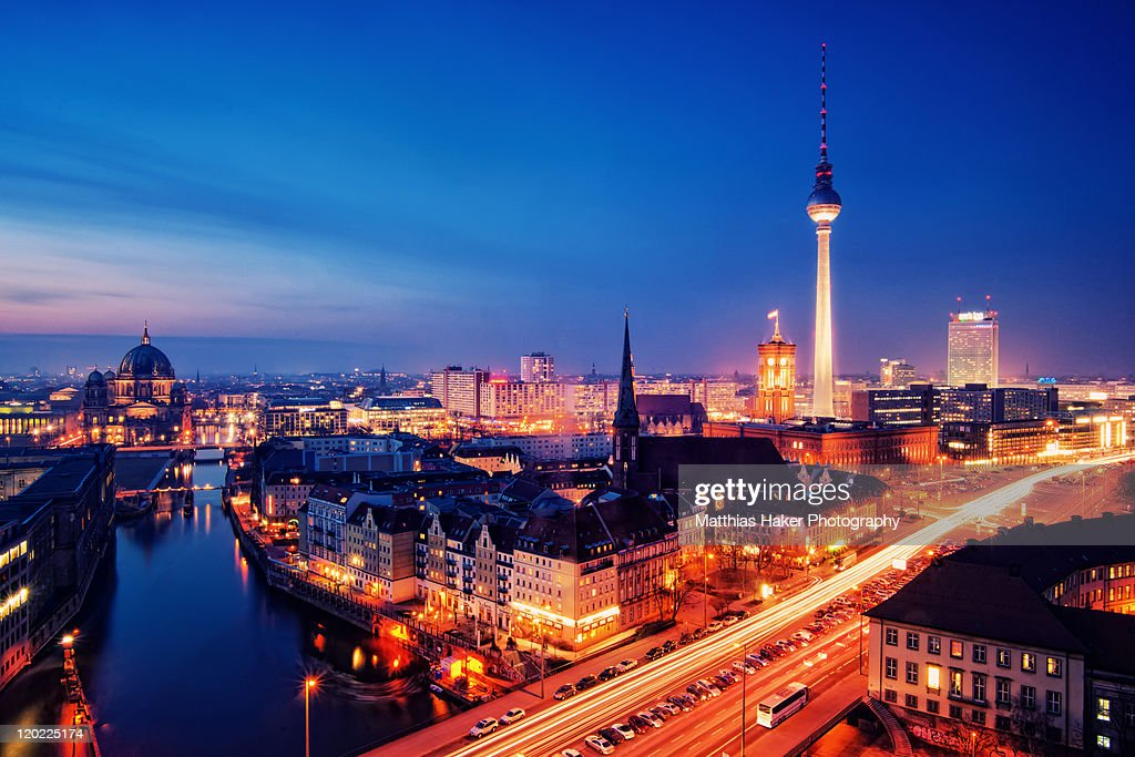 berlin city nights stock photo getty images. Black Bedroom Furniture Sets. Home Design Ideas