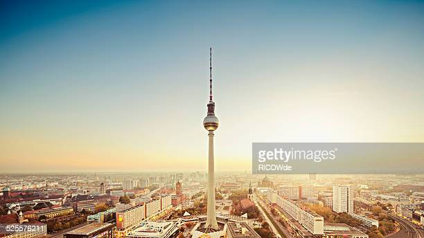 Berlin cityscape with Fernsehturm at sunset