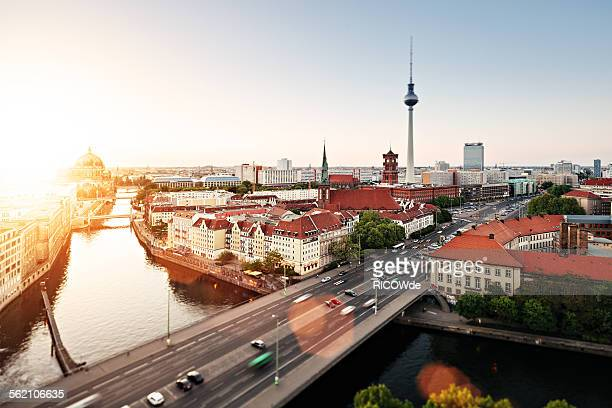 berlin cityscape with tv tower