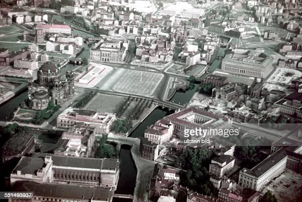 Berlin East sector MarxEngelsPlatz aerial view of East Berlin city center