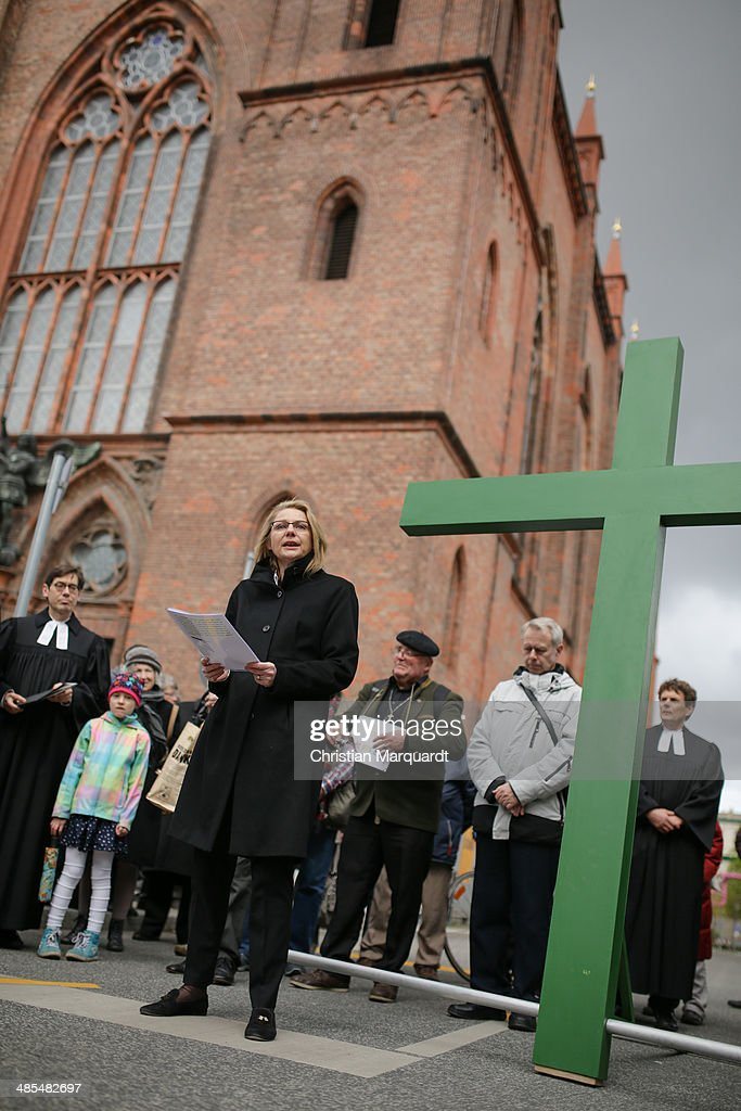 Berlin economic Senator Cornelia Yzer gives a speech during the ecumenical Good Friday procession on April 18, 2014 in Berlin Germany. Under the theme of 'Reformation and Politics' the Protestant church invites this year's politicians to join the traditional march through Berlin.