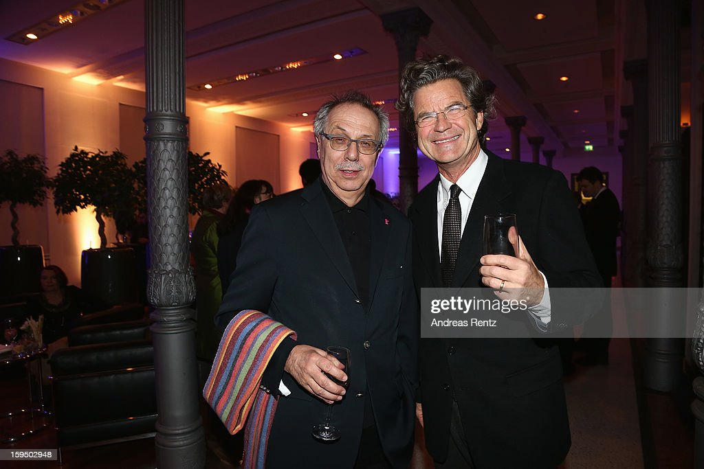 Berlin Film Festival Director <a gi-track='captionPersonalityLinkClicked' href=/galleries/search?phrase=Dieter+Kosslick&family=editorial&specificpeople=213030 ng-click='$event.stopPropagation()'>Dieter Kosslick</a> and <a gi-track='captionPersonalityLinkClicked' href=/galleries/search?phrase=Florian+Langenscheidt&family=editorial&specificpeople=638388 ng-click='$event.stopPropagation()'>Florian Langenscheidt</a> attend the '8. Nacht der Sueddeutschen Zeitung' at Deutsche Telekom representative office on January 14, 2013 in Berlin, Germany.