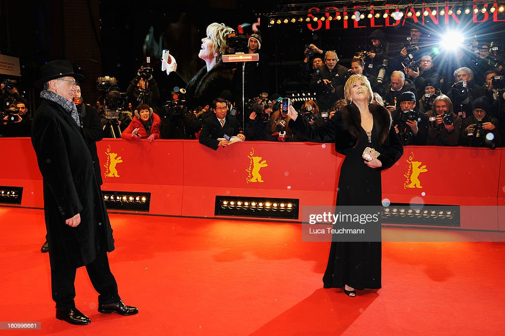 Berlin Film Festival Director <a gi-track='captionPersonalityLinkClicked' href=/galleries/search?phrase=Dieter+Kosslick&family=editorial&specificpeople=213030 ng-click='$event.stopPropagation()'>Dieter Kosslick</a> and <a gi-track='captionPersonalityLinkClicked' href=/galleries/search?phrase=Jane+Fonda&family=editorial&specificpeople=202174 ng-click='$event.stopPropagation()'>Jane Fonda</a> attend the 'Promised Land' Premiere during the 63rd Berlinale International Film Festival at Berlinale Palast on February 8, 2013 in Berlin, Germany.
