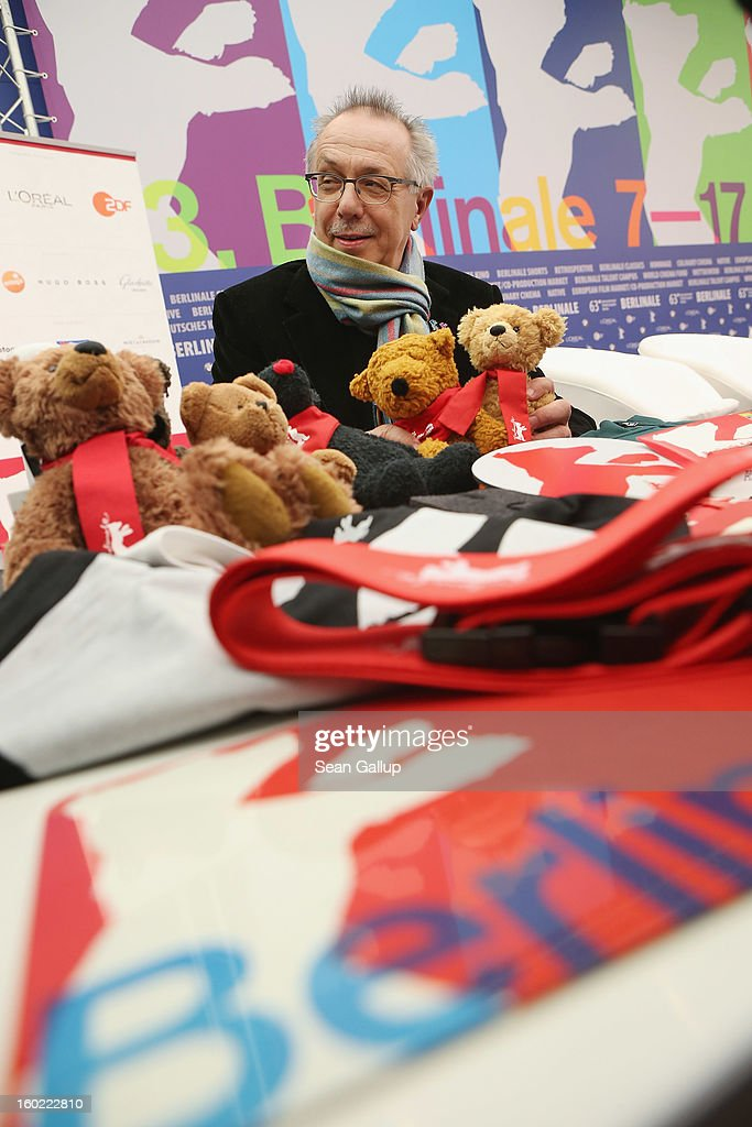 Berlin Film Festival Director Dieter Kosslick, Director of the Berlinale International Film Festival, poses with present and past official Berlinale stuffed bears at the opening press conference of the 63rd Berlinale on January 28, 2013 in Berlin, Germany. The 63rd Berlinale will run from February 7-17.