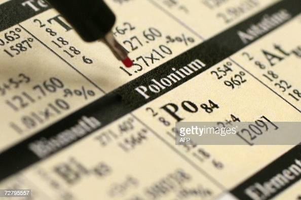 FILES A picture taken 01 December 2006 in Berlin shows a periodic table with a pen pointing on the element Polonium Four people in Germany have shown...