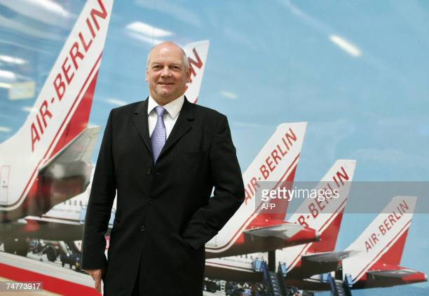 FILES Picture taken 22 May 2007 shows Air Berlin chairman Joachim Hunold posing during the inauguration of the terminal C of Berlin's Tegel airport...