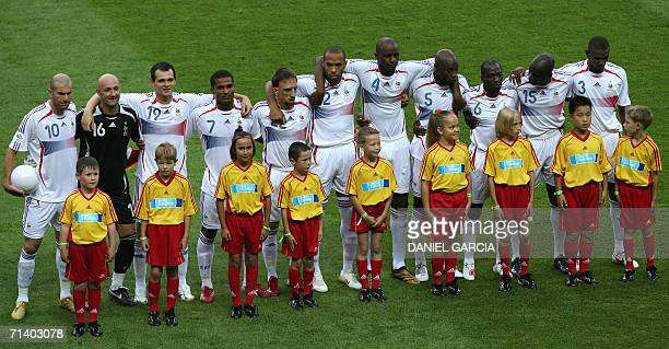 French midfielder Zinedine Zidane goalkeeper Fabien Barthez defender Willy Sagnol midfielder Florent Malouda forward Franck Ribery forward Thierry...