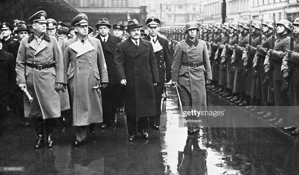 Berlin Germany German Field Marshall Keitel and Foreign Minister Joachim Von Ribbentrop of Germany escort Russian Foreign Minister Viacheslav Molotov...