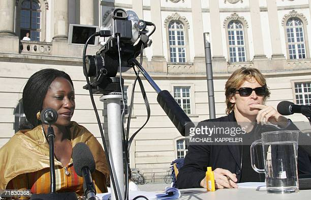 Nigerian Human rights activist Hafsat Abiola and actor Willem Dafoe of the US anchormen of the first 'Table of Free Voices' of the 'Dropping...