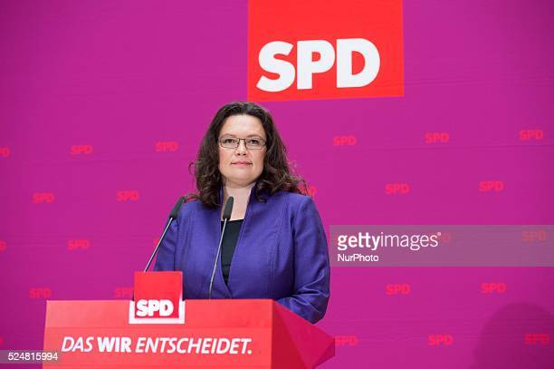 Berlin Germany Octuber 7th 2013 SPD General secretary Andreas Nahles gives a press conference in the SPD headquarters in Berlin to explain the pros...