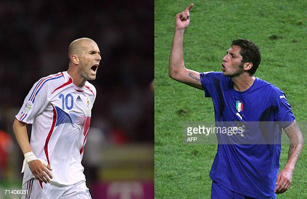 Photomontage of two pictures taken 09 July 2006 showing French midfielder Zinedine Zidane shouting during the World Cup 2006 final football match...