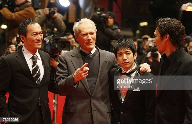 US actor and director Clint Eastwood and Japanese actors Tsuyoshi Ihara Kazunari Ninomiya and Ken Watanabe pose on the red carpet as they arrive for...