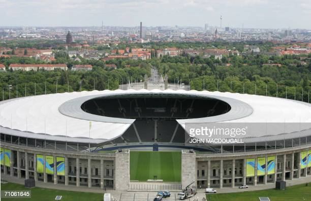 View of the Berlin Olympiastadion where the final of the 2006 FIFA World Cup will take place 09 July taken in Berlin 26 May 2006 AFP PHOTO JOHN...