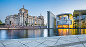 Panoramic view of Regierungsviertel (government district) with famous Reichstag building and Paul Lobe Haus (Deutscher Bundestag) at dusk, Berlin, Germany.