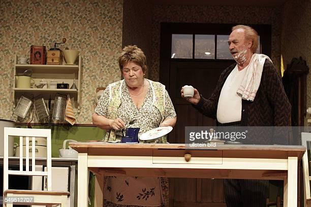 Berlin Komödie am Kurfürstendamm play 'The End of the Beginning' by Sean O'Casey actor Walfriede Schmitt as Lizzi Berrill and Achim Wolff as Darry...