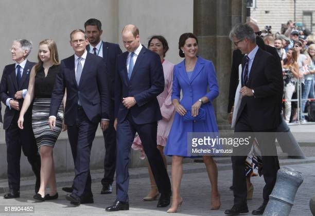 Berlin Major Michael Mueller meets with Catherine Duchess of Cambridge and Prince William Duke of Cambridge as they visit the Brandenburg Gate on the...