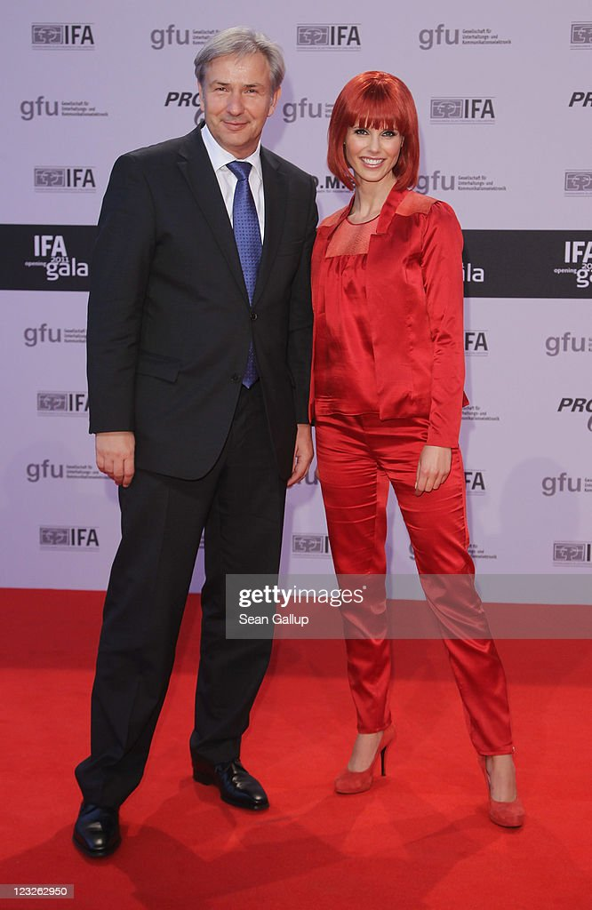 Berlin Mayor Klaus Wowereit and Eva, Miss IFA 2011, attend the IFA 2011 Opening Gala at Messe Berlin on September 1, 2011 in Berlin, Germany.