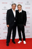 Berlin mayor Klaus Wowereit and Matthias Schweighoefer attend the 'What a man' premiere at the Cinestar movie theater on August 10 2011 in Berlin...