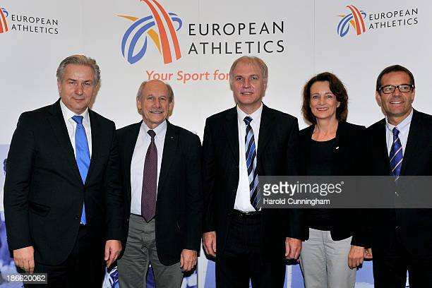 Berlin Mayor Klaus Wowereit European Athletics President Hansjörg Wirz DLV President Dr Clemens Prokop Vice President Dagmar Freitag and European...