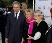 Berlin mayor Klaus Wowereit Fiona Wynn Williams and Scottish author Rosamunde Pilcher attend the '40th International Emmy Awards Semi Final Hosting'...