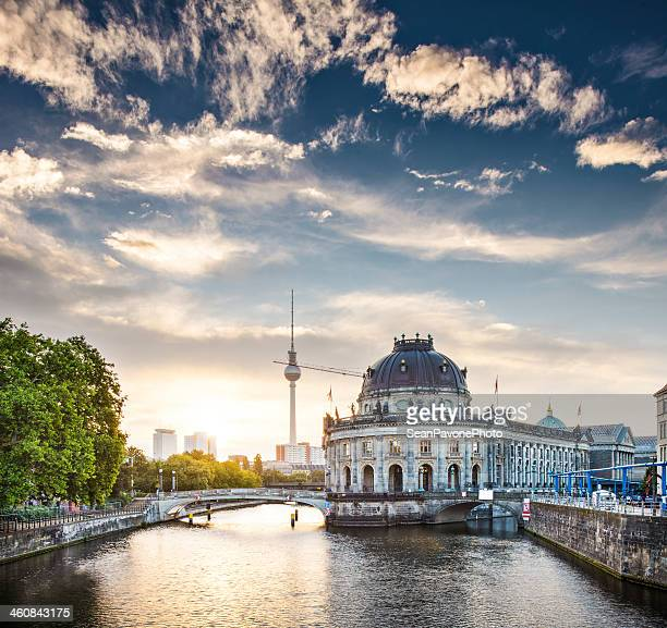 Berlin, Germany view of Museum Island and Television Tower just after sunrise.