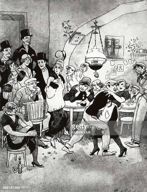 Berlin night club in 1920 Vornehme Gäste in der Kaschemme satirical cartoon by Simmel Caption reads Toffs come slumming in a drinking dive The woman...