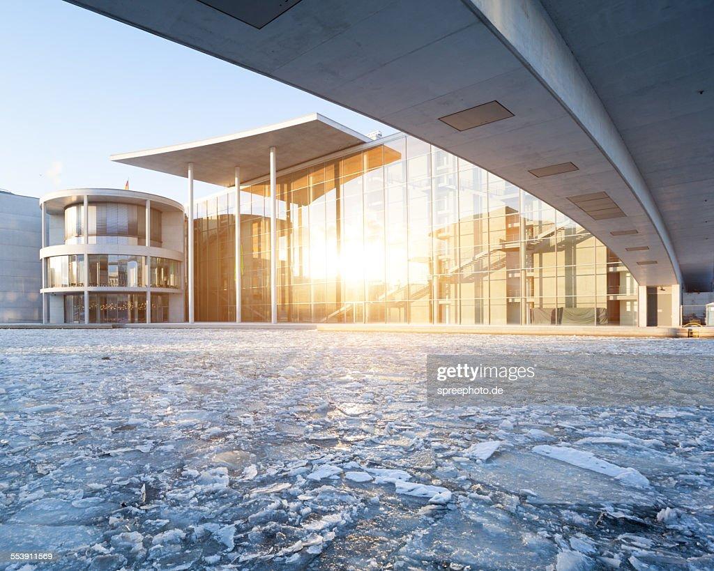 Berlin Paul Loebe House with frozen Spree river