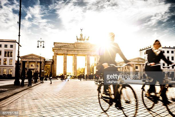 Berlin - People cycling at Brandenburg Gate