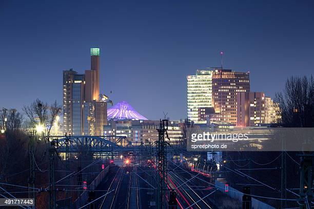 Berlin Potsdamer Platz with rails at night