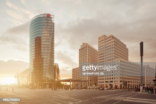 Berlin Potsdamer Platz with sunbeam