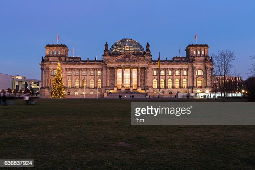 Berlin, Reichstag building with christmas tree (german parliament building) - Berlin/ Germany