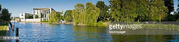 Berlin River Spree tranquil summer panorama Tiergarten Regierungsviertel Fernsehturm Germany