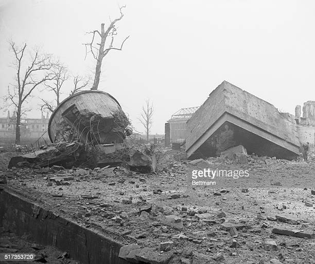 Russians Blow Up Hitler's 'Tombstone' Huge chunks of reinforced concrete lie atop the ground before Berlin's Reichschancellery after a detachment of...
