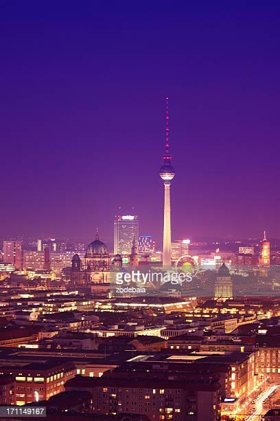Berlin Skyline bei Nacht, Dom und Fernsehturm
