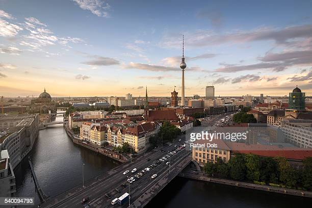 Berlin skyline at sunset on a summer day
