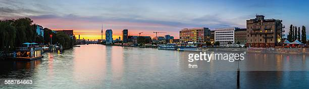 Berlin Skyline near Spree river at sunset