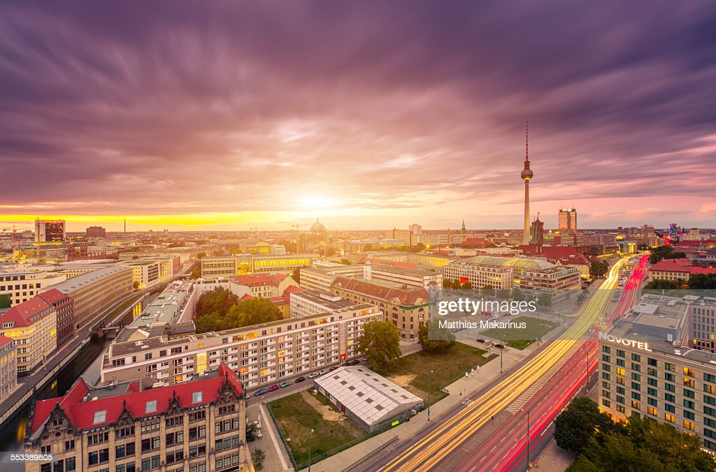 Berlin Skyline Panorama with Sunset