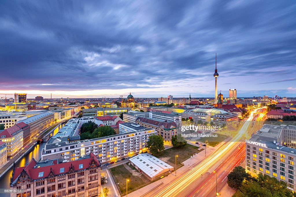 Berlin Skyline Panorama with Traffic
