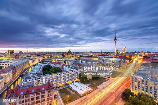 Berlin Skyline Panorama with Traffic