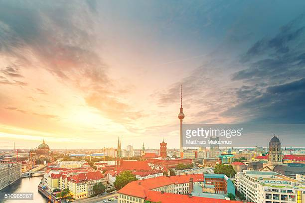 Berlin Skyline Summer Panorama with Sun